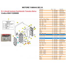 Kit 4 Anodi zinco Motore fuoribordo Yamaha Selva codice 6G8113250000
